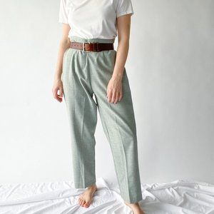 vintage light green cropped trousers